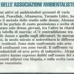 Biomonitoraggio donne di Taranto ed Allevatori, dopo l'illustrazione degli studi Iss su inquinanti nel sangue. Il mioresoconto.