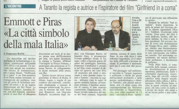 Girlfriend in a coma, pezzo su Nuovo Quotidiano di Puglia, 22 febbraio 2013