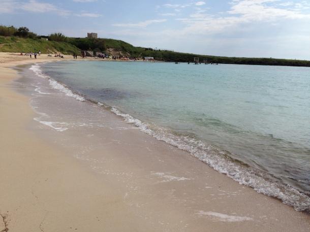 La sabbia rosa antico, come i resti antichi delle ville romane a Saturo