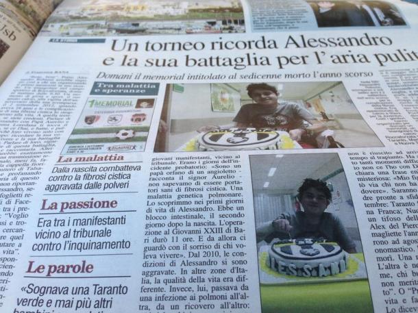 1° settembre 2013, Nuovo Quotidiano di Puglia, edizione di Taranto